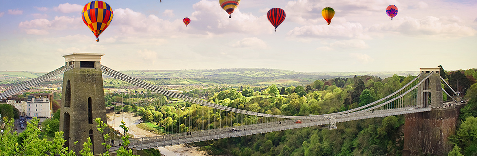 ARAG UK hot air balloon festival covering the suspension bridge image banner